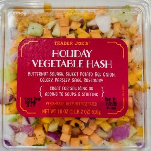 Trader Joe's Holiday Vegetable Hash with Butternut squash, sweet potatoes, onion, celery, sage