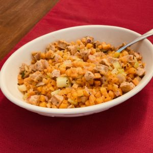 Sauteed Trader Joe's Holiday Vegetable Hash with Butternut squash, sweet potatoes, onion, celery, sage, chicken sausage