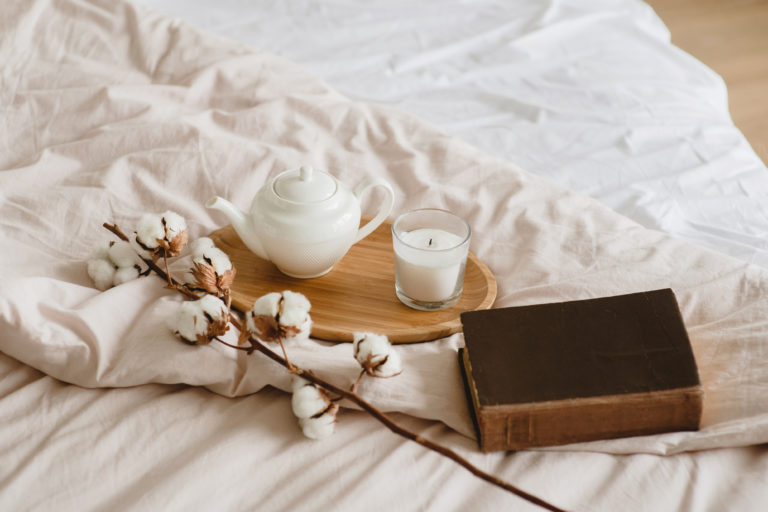 Bedtime Ritual - herbal tea, candle, book to read