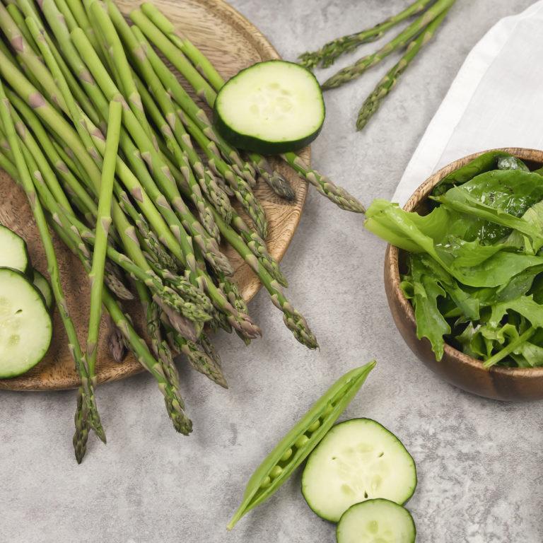 Green Vegetables - Asparagus, Cucumber, Peas, Greens